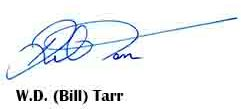 Bill Tarr's signature